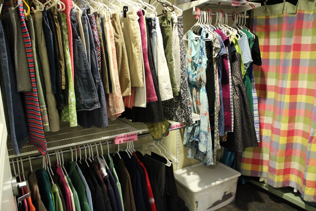 clothes closet photo hanging clothing
